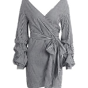 Dresses & Skirts - Off the Shoulder Ruffle Wrap Check Print Dress